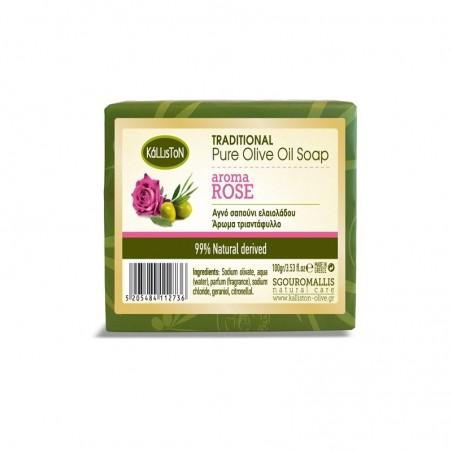 Мыло с запахом розы - оливковое масло - 100 гр - Kalliston