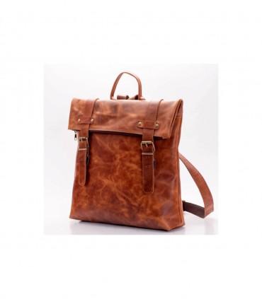 Плоский кожаный рюкзак